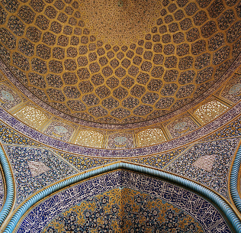 Sheikh Lotf Allah mosque wall and ceiling; Photo by Phillip Maiwald (Nikopol)