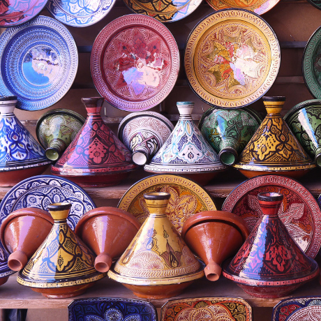 Tajines in a pottery shop in Morocco, Jafri Ali, 11 June 2014, https://commons.wikimedia.org
